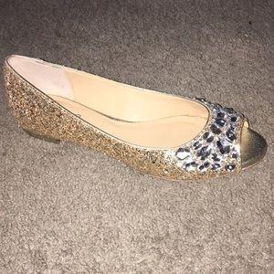 Jewel Badgley Mischka Claire Glitter Peep Toe Flat